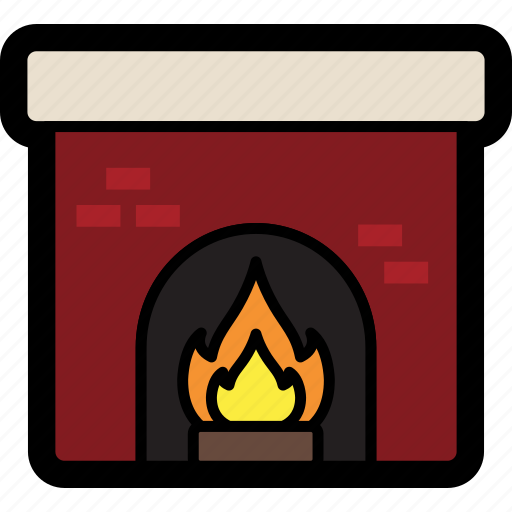 fire, fire place, fireplace, hearth, mantle icon