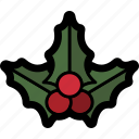 christmas, holly, mistletoe icon