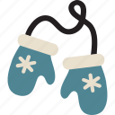 christmas, mittens, winter, winter mittens icon