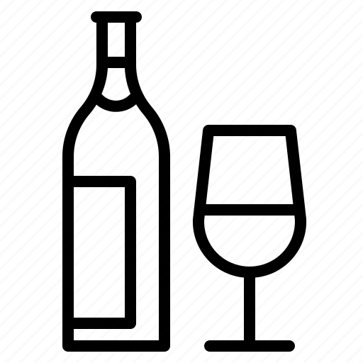 alcohol, beverage, bottle, glass, wine icon