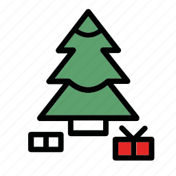 gifts, new, presents, snow, tree, year icon
