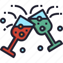 alcoholic, glass, drink, christmas, champagne, party icon