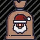 claus, santa, christmas, holiday, gift, bag icon
