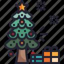 celebration, tree, christmas, decoration, presents icon