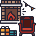 winter, fireplace, living, chimney, xmas, room icon