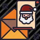 envelope, claus, santa, christmas, card, letter