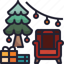 party, tree, christmas, presents, gift icon
