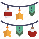 decoration, star, ball, garland, christmas