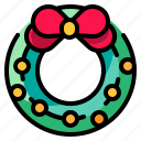 adornment, bow, christmas, decoration, wreath icon