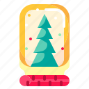 christmas, decoration, globe, shapes, snow, tree icon