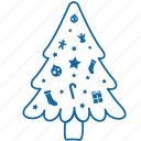 celebration, christmas, decorated, decorated christmas tree, holyday, new year, tree icon