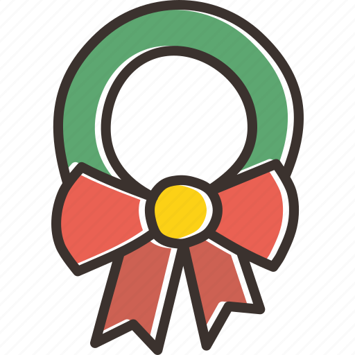 bow, christmas, decoration, gift, leaf, new year, wreath icon