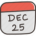 calendar, christmas, date, day, december, festival icon