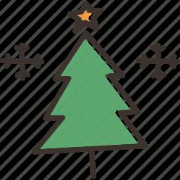 christmas, december, snow, snowflake, star, tree, winter icon
