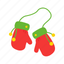 christmas, gloves, santa cloves, winter icon