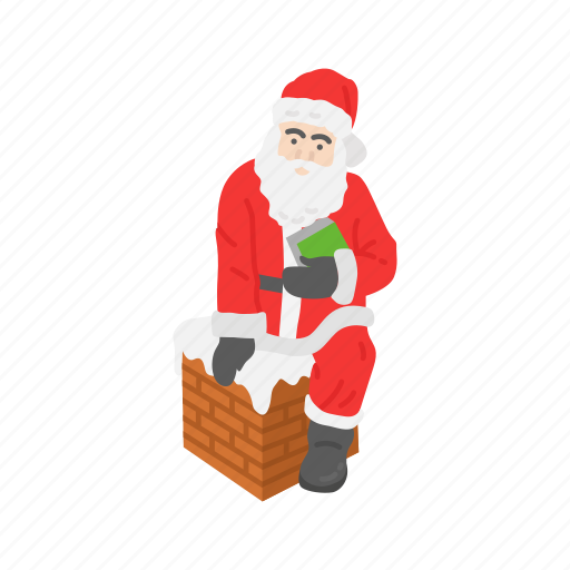 christmas, santa, santa claus, santa on chimney icon