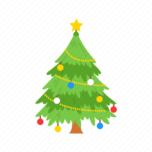 Christmas Tree Icon.Christmas Essential Flat By Vectto
