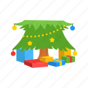 christmas, christmas tree, gifts, present icon