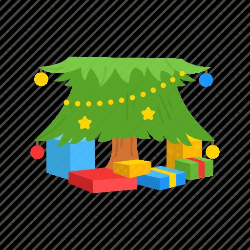 christmas, christmas tree, gifts, present icon