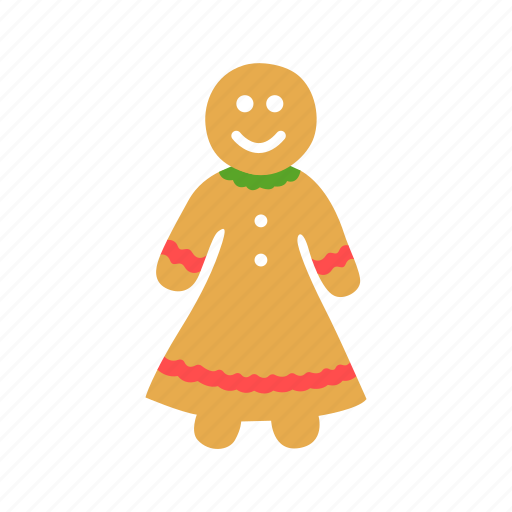 brownies, christmas, cookie, gingerbread woman icon