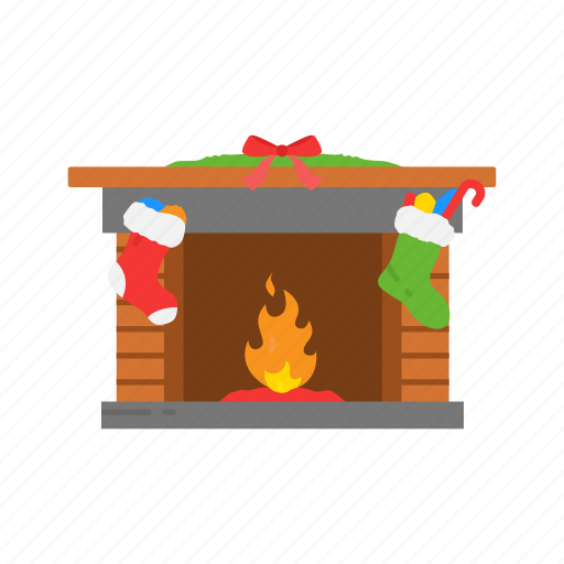 chimney, christmas, fire, fire place icon