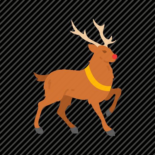 deer, reindeer, rudolph, sleigh icon