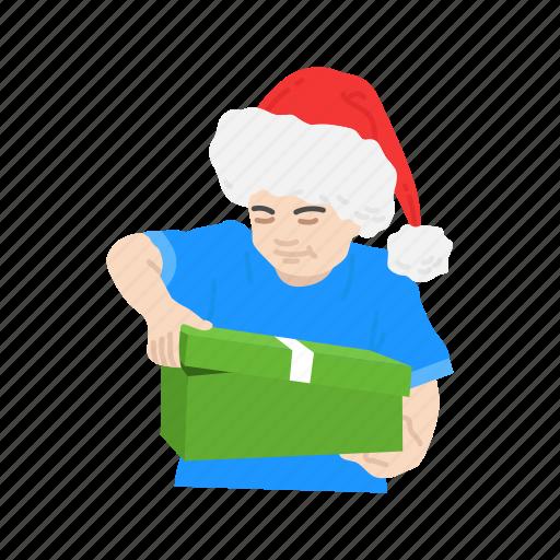 boy, gift, kid, santa hat icon