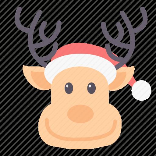christmas, raindeer, reindeer, rudolf, santa, xmas icon