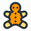 christmas, gingerbread, snack, xmas icon