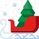decoration, christmas, sled, tree, winter