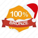 bronze, christmas, guarantee, label, percent, santa icon