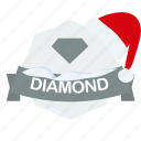 christmas, diamond, guarantee, label, santa icon