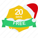 christmas, days, free, guarantee, label, period, santa icon