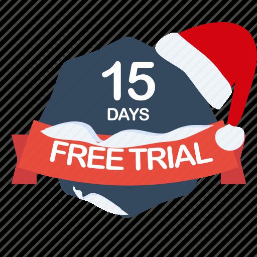 christmas, days, free, guarantee, label, santa, trial icon