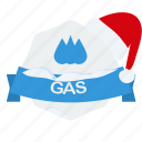 christmas, gas, guarantee, label, santa icon