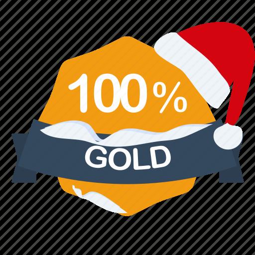 christmas, gold, guarantee, label, percent, santa icon