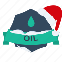 christmas, guarantee, label, oil, santa icon