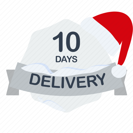 christmas, day, delivery, guarantee, label, one, santa icon