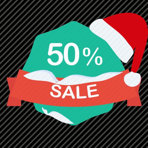 christmas, guarantee, label, percent, sale, santa icon