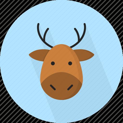 animal, christmas, circle, december, deer, holiday, winter, xmas icon