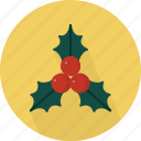 berries, christmas, circle, december, holiday, holly, winter, with, xmas icon