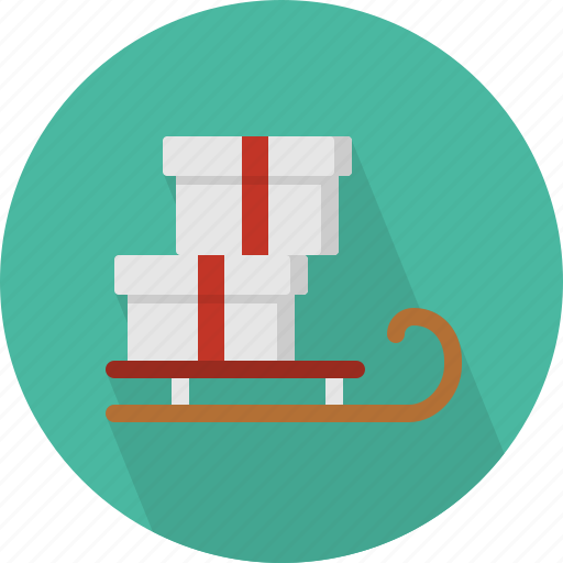 christmas, circle, december, gifts, holiday, sledge, winter, with, xmas icon