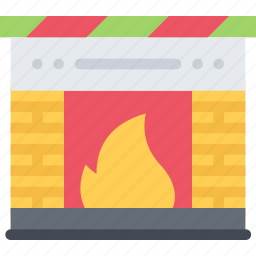 christmas, fireplace, holidays, new year, winter icon