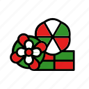box, christmas, flower, holiday, present, three icon