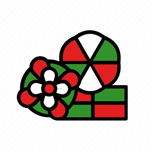 box, christmas, flower, holiday, present, three icon