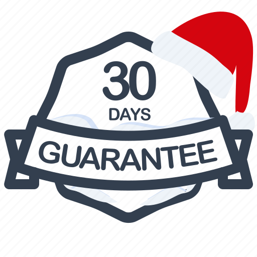 christmas, days, guarantee, label, period, santa icon