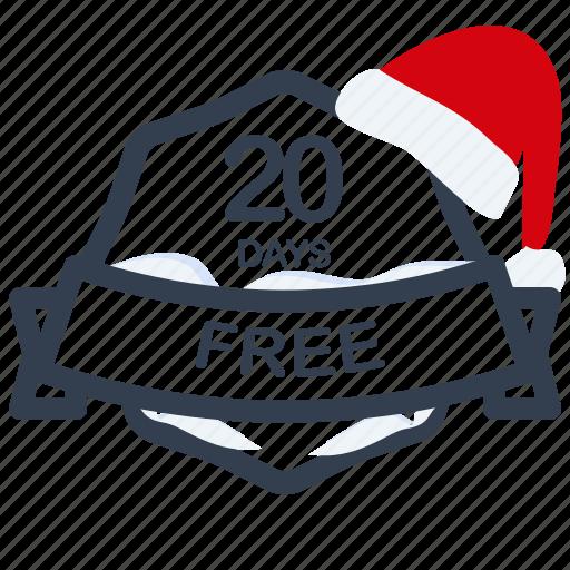 christmas, days, free, guarantee, label, period, santa icon