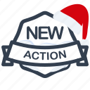 action, christmas, guarantee, label, new, santa icon
