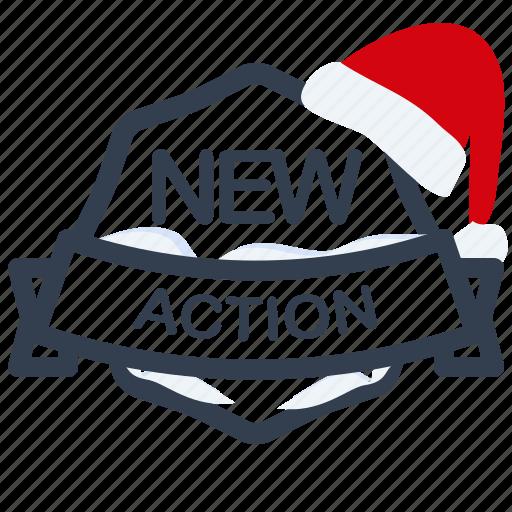 action, christmas, guarantee, label, new, santa icon