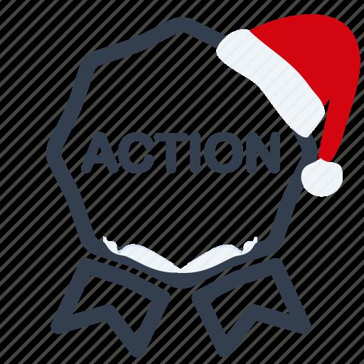 action, christmas, ribbon, santa, shopping icon